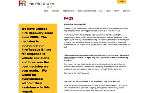 Screenshot of FAQ Page firerecoveryusa.com - FAQs - captured Sept. 30, 2014