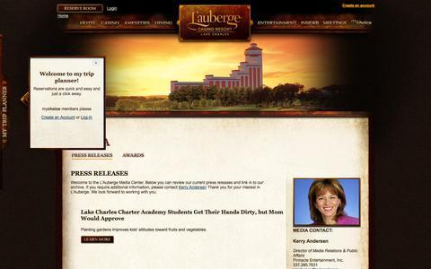 Screenshot of Press Page llakecharles.com - Press Releases » L'Auberge - captured Sept. 25, 2014