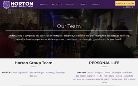 Screenshot of Team Page hortongroup.com - Horton Group Team | Nashville Marketing Firm | Horton Group - captured July 22, 2018