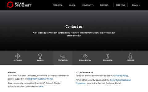 Screenshot of Contact Page openshift.com - Contact Us - Red Hat OpenShift - captured Sept. 19, 2018