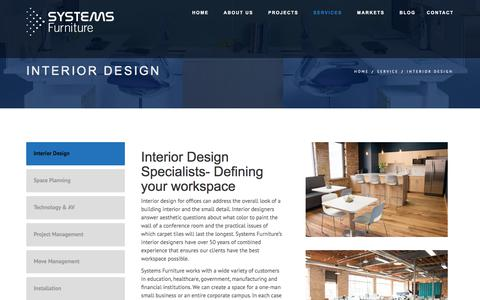 Screenshot of Services Page sysfurniture.com - Interior Design - Systems Furniture - captured Oct. 25, 2017