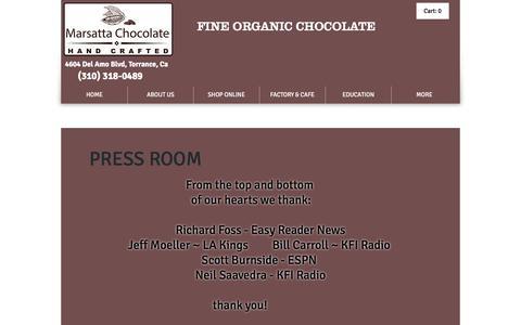 Screenshot of Press Page marsatta.com - Marsatta Chocolate Los Angeles | Vegan Organic Chocolate | Bean To Bar | PRESS ROOM - captured Nov. 18, 2016