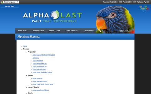 Screenshot of Site Map Page alphalast.com.au - Alphalast Website Sitemap - captured Oct. 4, 2014