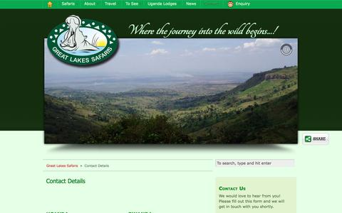 Screenshot of Contact Page safari-uganda.com - Contact Great Lakes Safaris in Uganda - captured Sept. 25, 2018