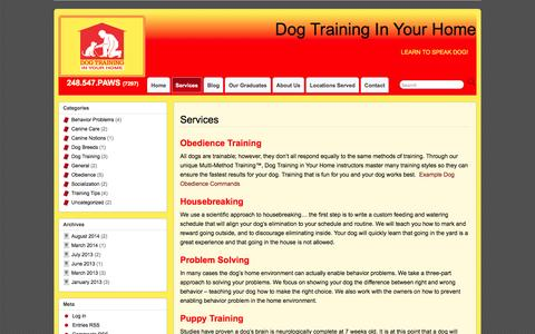 Screenshot of Services Page obedientpaws.com - Obedience Trainer Southfield Services & More - Dog Training in Your Home - captured Oct. 1, 2014
