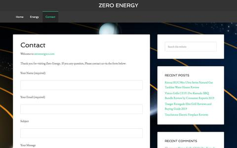 Screenshot of Contact Page zeroenergyco.com - Contact - Zero Energy - captured Sept. 21, 2019
