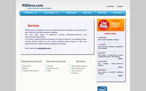 Screenshot of Services Page rsdevs.com - RSDevs.com - captured Oct. 7, 2014