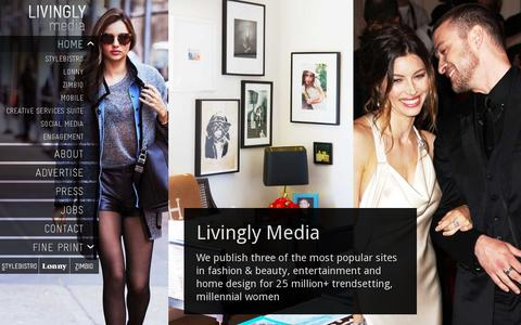 Screenshot of Home Page livingly.com - Livingly Media | Fashion. Beauty. Entertainment. Pop Culture. Deeply Engaging. - captured July 11, 2014