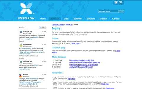 Screenshot of Press Page critchlow.co.nz - News and events - captured Sept. 22, 2014