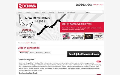 Screenshot of Jobs Page denwa.uk.com - Jobs in Lancashire, now recruiting in 2014 - captured Oct. 10, 2014