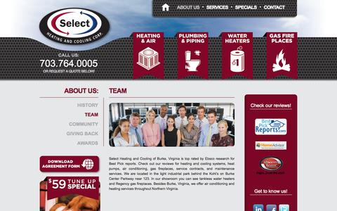 Screenshot of About Page Team Page selectheatingandcooling.com - Team - Select Heating and Cooling - captured Oct. 26, 2014