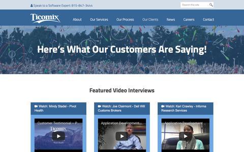 Screenshot of Testimonials Page ticomix.com - Hear What Our Customers Are Saying | Ticomix Customer Testimonials - captured Aug. 4, 2018