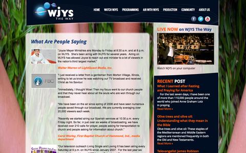 Screenshot of Testimonials Page wjys.tv - What Are People Saying | WJYS the way - captured Oct. 3, 2014