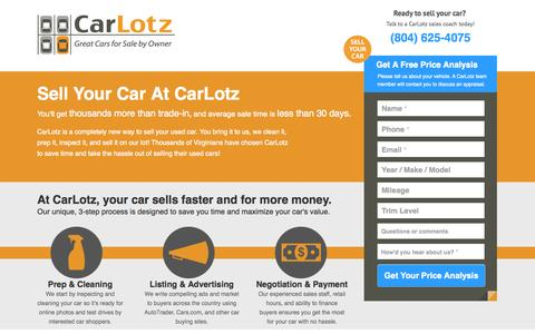 Screenshot of Landing Page carlotz.com - Sell Your Car at CarLotz - Get A Free Price Analysis - captured Oct. 27, 2014