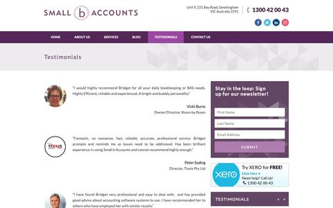 Screenshot of Testimonials Page smallbaccounts.com.au - Small b Accounts | Bookkeeping Services Melbourne - captured Nov. 7, 2018