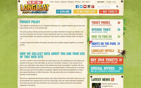 Screenshot of Privacy Page longleat.co.uk - Privacy Policy - Longleat Safari Park & Adventure Park - captured Oct. 27, 2014