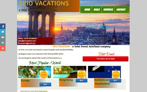 Screenshot of Home Page triovacations.com - Home - captured Oct. 8, 2014
