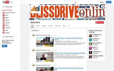 Screenshot of YouTube Page youtube.com - Bliss Drive  - YouTube - captured Oct. 23, 2014