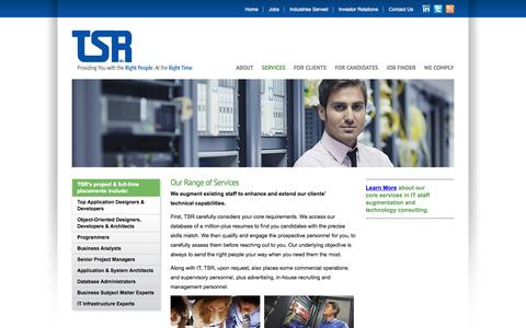 Screenshot of Services Page tsrconsulting.com - TSR - Providing You with the Right People. At the Right Time. - captured Oct. 7, 2014