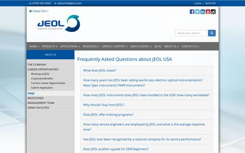 Screenshot of FAQ Page jeolusa.com - Frequently Asked Questions about JEOL USA - captured Nov. 5, 2018