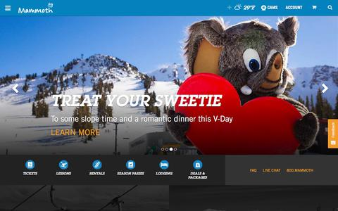 Screenshot of Home Page mammothmountain.com - California's Best Skiing & Snowboarding | Mammoth Mountain - captured Feb. 10, 2018