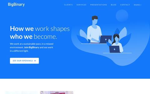 Screenshot of Jobs Page bigbinary.com - Join BigBinary   BigBinary - captured Aug. 21, 2019