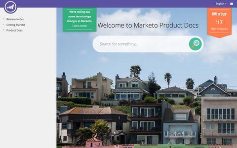Screenshot of marketo.com - Welcome to Marketo Docs - Marketo Docs - Product Docs - captured June 8, 2017