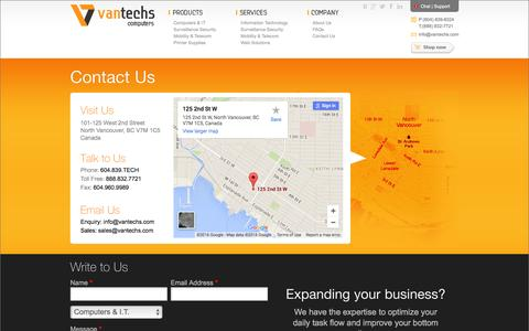 Screenshot of Contact Page Maps & Directions Page vantechs.com - Vantechs Computers - Contact us - captured Feb. 13, 2016
