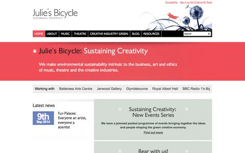 Screenshot of Home Page juliesbicycle.com - Sustaining Creativity / Julie's Bicycle - captured Sept. 30, 2014