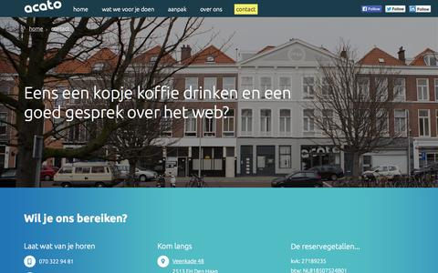 Screenshot of Contact Page acato.nl - contact - acato: creating online experiences, den haag - captured Oct. 4, 2014