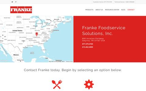 Screenshot of Contact Page frankeamericas.com - Contact Franke Foodservice Solutions - captured July 2, 2016