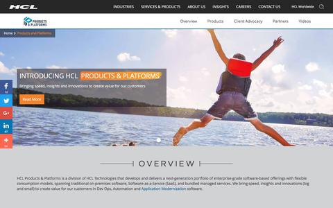 Screenshot of Products Page hcltech.com - HCL Products and Platforms Overview | HCL Tech - captured Dec. 10, 2017