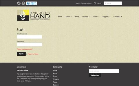 Screenshot of Login Page avillagershand.com - Account - A Villager's Hand - captured Oct. 28, 2014