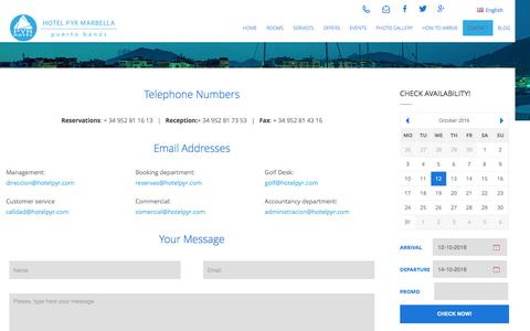 Screenshot of Contact Page hotelpyr.com - Contact | Hotel PYR Marbella - captured Oct. 12, 2016