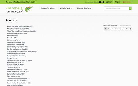 Screenshot of Site Map Page sawinesonline.co.uk - Site Map SA Wines Online - captured Sept. 30, 2014