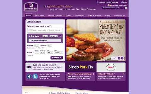 Screenshot of Home Page premierinn.com - Premier Inn - Book Cheap Hotels in the UK and Ireland - captured Sept. 18, 2014