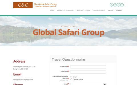 Screenshot of Contact Page theglobalsafarigroup.com - CONTACT   The Global Safari Group - captured Nov. 4, 2014