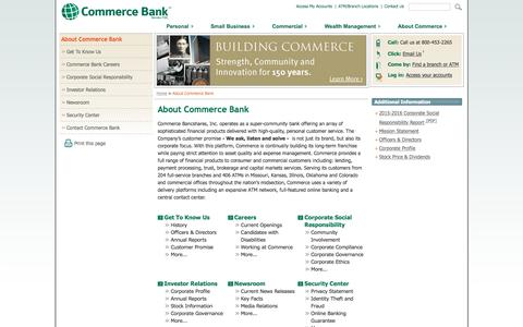 Screenshot of About Page commercebank.com - About Commerce Bank | Commerce Bank - captured Nov. 10, 2016