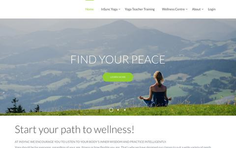 Screenshot of Home Page insync.com.au - Yoga Classes in Canberra - InSync BML | Start your path to wellness! - captured Dec. 19, 2018