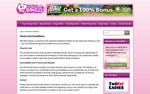 Screenshot of Terms Page madaboutbingo.com - Terms and Conditions | Mad About Bingo - captured May 27, 2017