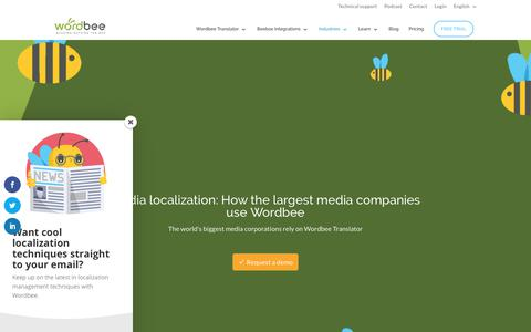 Screenshot of Press Page wordbee.com - Media Localization  •  Solutions • Wordbee - captured Sept. 20, 2018
