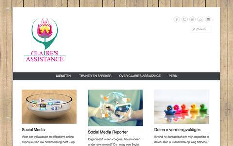 Screenshot of Home Page Menu Page clairesassistance.nl - Claire's Assistance | Voor een volwassen en effectieve online exposure van uw onderneming. - captured Sept. 30, 2014