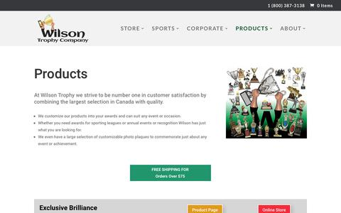 Screenshot of Products Page wilsontrophy.ca - Our Products | Wilson Trophy - captured Oct. 20, 2018