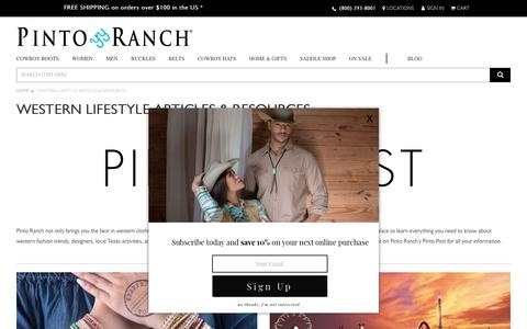 Screenshot of Blog pintoranch.com - Pinto Post – The Word on Western Lifestyle & Fashion - captured Nov. 9, 2018