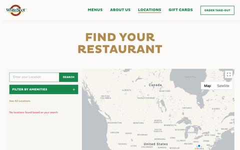 Screenshot of Locations Page whitespot.ca - Locations - White Spot - captured Oct. 14, 2019