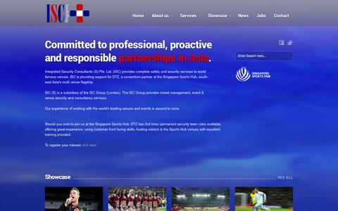 Screenshot of Home Page isc.sg - ISC - Integrated Security Consultants Ltd - Home - captured Oct. 4, 2014