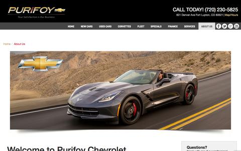 Screenshot of About Page purifoychevrolet.com - About  Purifoy Chevrolet a Denver CO dealership - captured Sept. 30, 2014