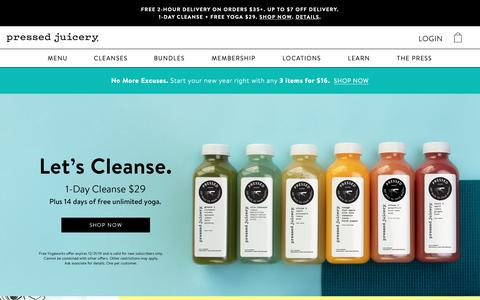 Screenshot of Home Page pressedjuicery.com - Pressed Juicery - Cold Pressed Juice & Cleanse - captured Jan. 1, 2019