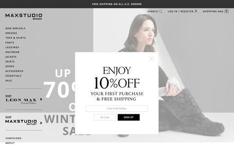 Screenshot of Home Page maxstudio.com - Shop Max Studio® Brands by Leon Max - Designer Clothing for Women | MaxStudio.com - captured Jan. 20, 2018
