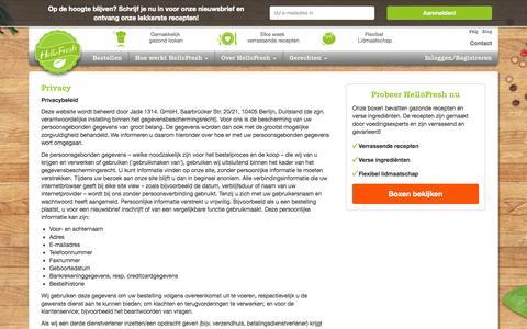 Screenshot of Privacy Page hellofresh.nl - Wij gaan zorgvuldig om met jouw gegevens | HelloFresh - captured Oct. 27, 2014
